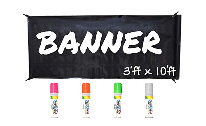 Glass Chalk Banner Kit - Black with Neon Markers